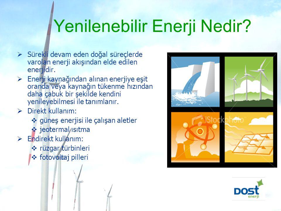 Yenilenebilir Enerji Nedir?  Sürekli devam eden doğal süreçlerde varolan enerji akışından elde edilen enerjidir.  Enerji kaynağından alınan enerjiye