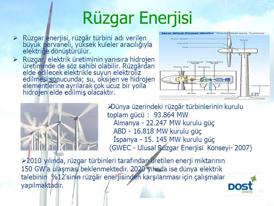 Rüzgar Enerjisi  Rüzgar enerjisi, rüzgâr türbini adı verilen büyük pervaneli, yüksek kuleler aracılığıyla elektriğe dönüştürülür.  Rüzgar, elektrik