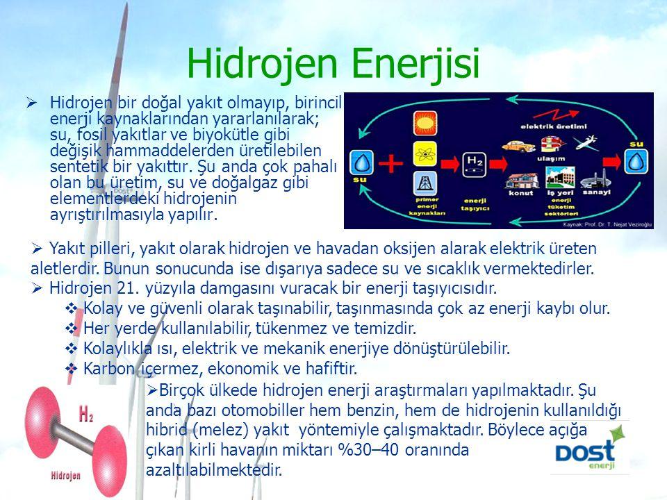 Hidrolik Enerji  Su gücü ile üretilen enerjidir. En iyi örnek barajlardır.
