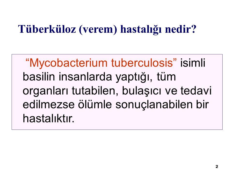 33 BİLDİRİM VE KAYIT Tüberküloz, bildirimi zorunlu bir hastalıktır.