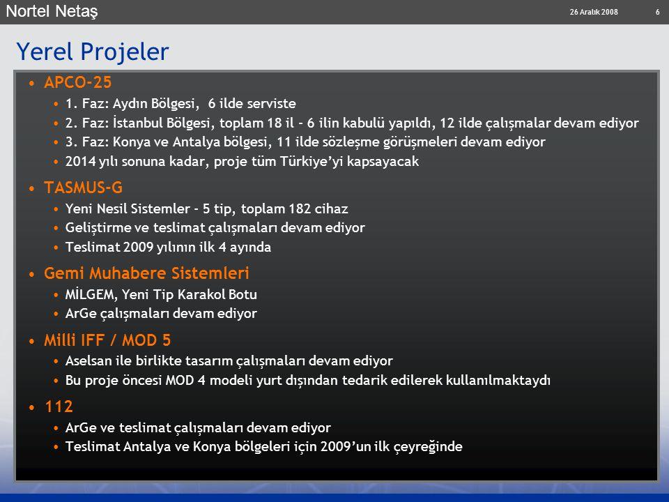 26 Aralık 2008 Nortel Netaş 6 Yerel Projeler APCO-25 1. Faz: Aydın Bölgesi, 6 ilde serviste 2. Faz: İstanbul Bölgesi, toplam 18 il - 6 ilin kabulü yap