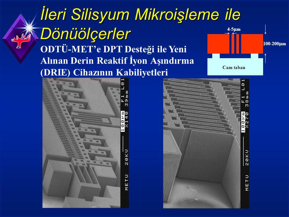 100-200  m 4-5  m Cam taban İleri Silisyum Mikroişleme ile Dönüölçerler ODTÜ-MET'e DPT Desteği ile Yeni Alınan Derin Reaktif İyon Aşındırma (DRIE) Cihazının Kabiliyetleri