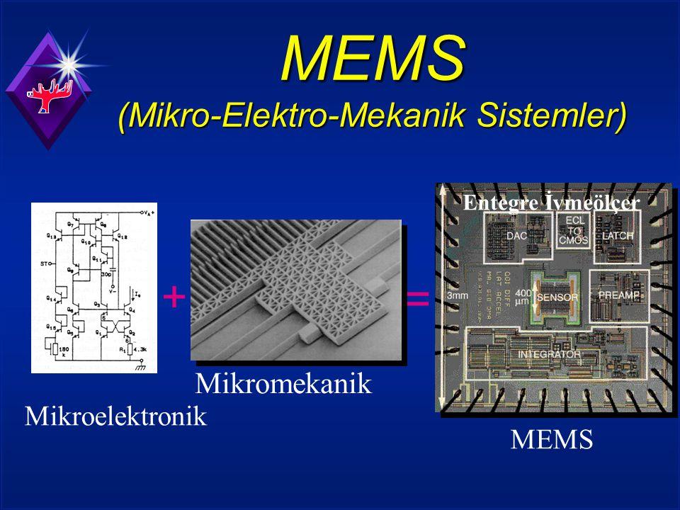 MEMS (Mikro-Elektro-Mekanik Sistemler) + Mikromekanik Mikroelektronik = MEMS Entegre İvmeölçer