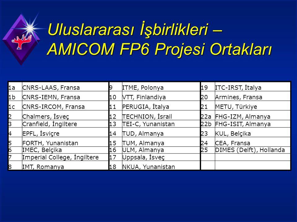 Uluslararası İşbirlikleri – AMICOM FP6 Projesi Ortakları 1aCNRS-LAAS, Fransa9ITME, Polonya19ITC-IRST, İtalya 1bCNRS-IEMN, Fransa10VTT, Finlandiya20Armines, Fransa 1cCNRS-IRCOM, Fransa11PERUGIA, İtalya21METU, Türkiye 2Chalmers, İsveç12TECHNION, İsrail22aFHG-IZM, Almanya 3Cranfield, İngiltere13TEI-C, Yunanistan22bFHG-ISIT, Almanya 4EPFL, İsviçre14TUD, Almanya23KUL, Belçika 5FORTH, Yunanistan15TUM, Almanya24CEA, Fransa 6IMEC, Belçika16ULM, Almanya25DIMES (Delft), Hollanda 7Imperial College, İngiltere17Uppsala, İsveç 8IMT, Romanya18NKUA, Yunanistan