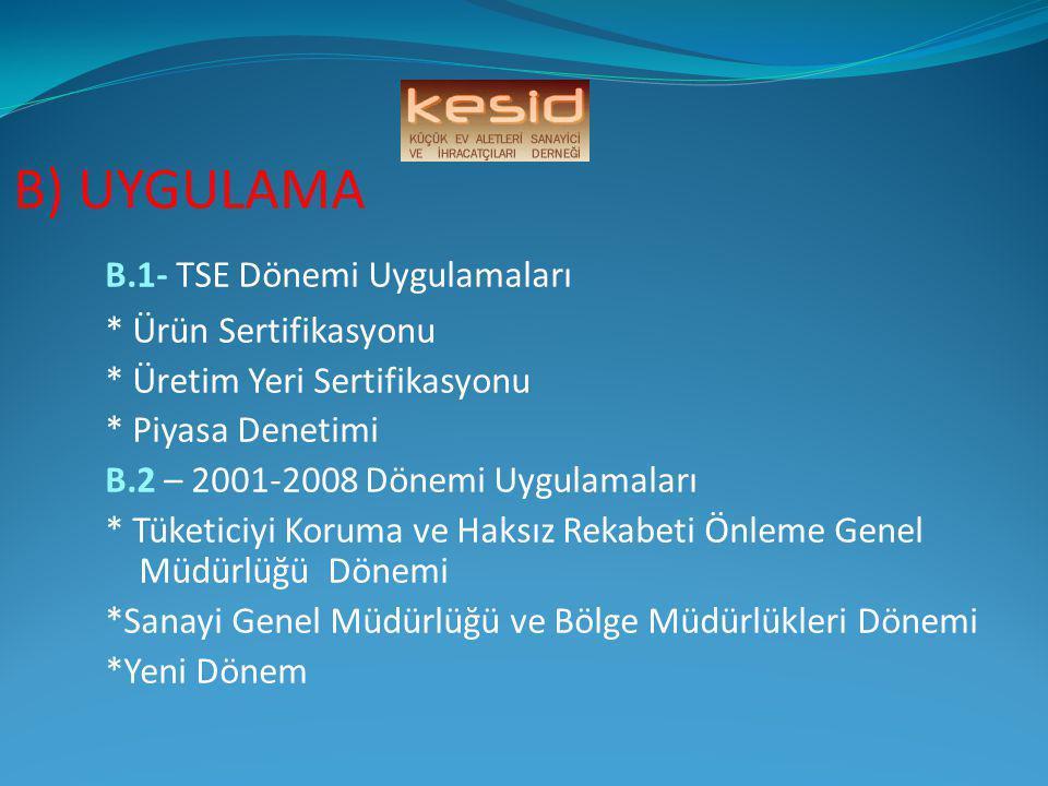 B) UYGULAMA B.1- TSE Dönemi Uygulamaları * Ürün Sertifikasyonu * Üretim Yeri Sertifikasyonu * Piyasa Denetimi B.2 – 2001-2008 Dönemi Uygulamaları * Tü