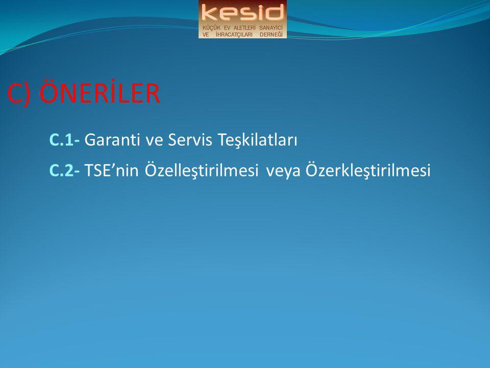 C) ÖNERİLER C.1- Garanti ve Servis Teşkilatları C.2- TSE'nin Özelleştirilmesi veya Özerkleştirilmesi
