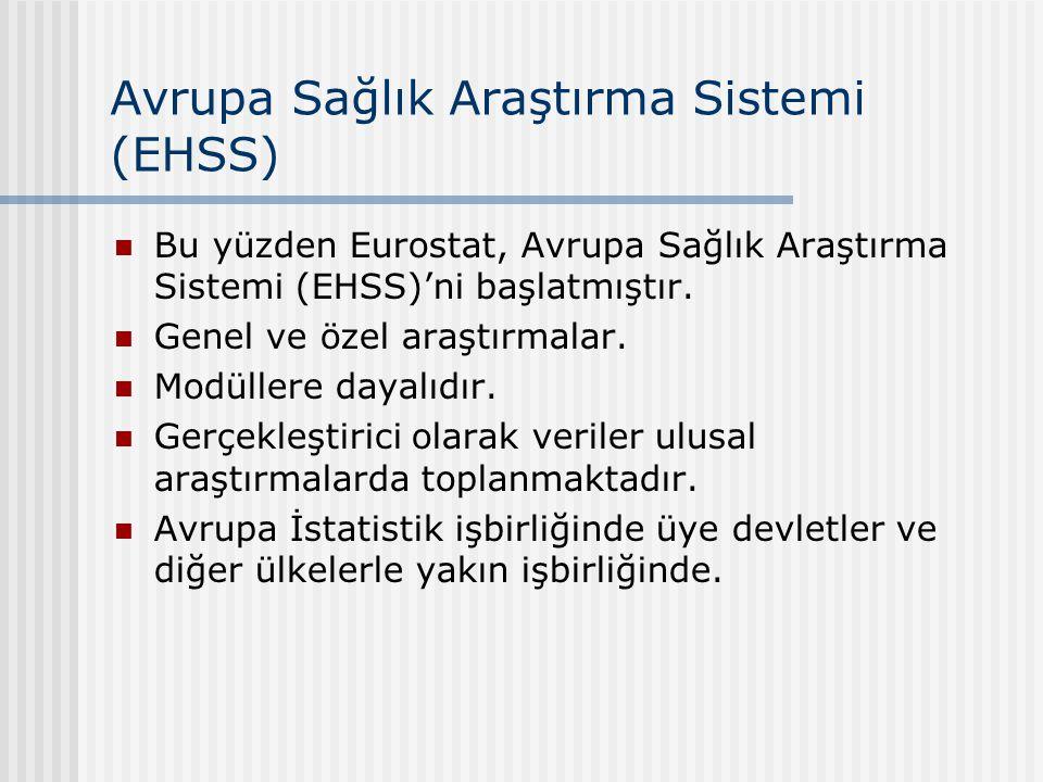 Avrupa Sağlık Araştırma Sistemi (EHSS) Bu yüzden Eurostat, Avrupa Sağlık Araştırma Sistemi (EHSS)'ni başlatmıştır.