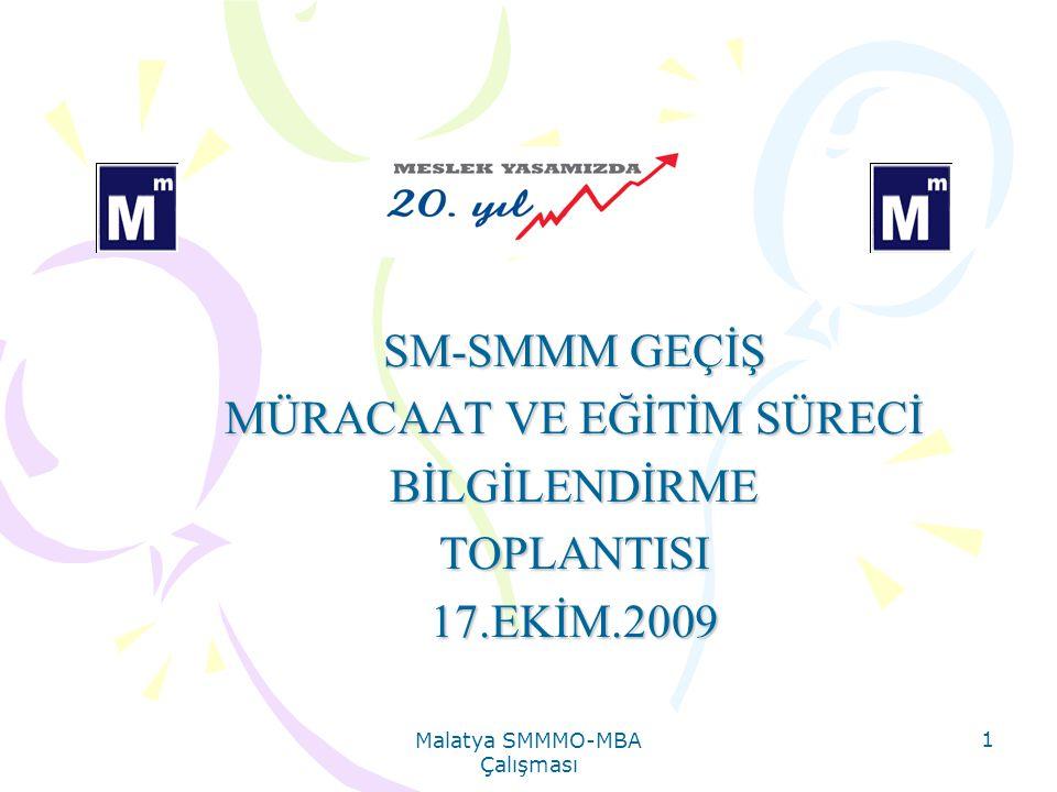 Malatya SMMMO-MBA Çalışması 1 SM-SMMM GEÇİŞ MÜRACAAT VE EĞİTİM SÜRECİ BİLGİLENDİRMETOPLANTISI17.EKİM.2009