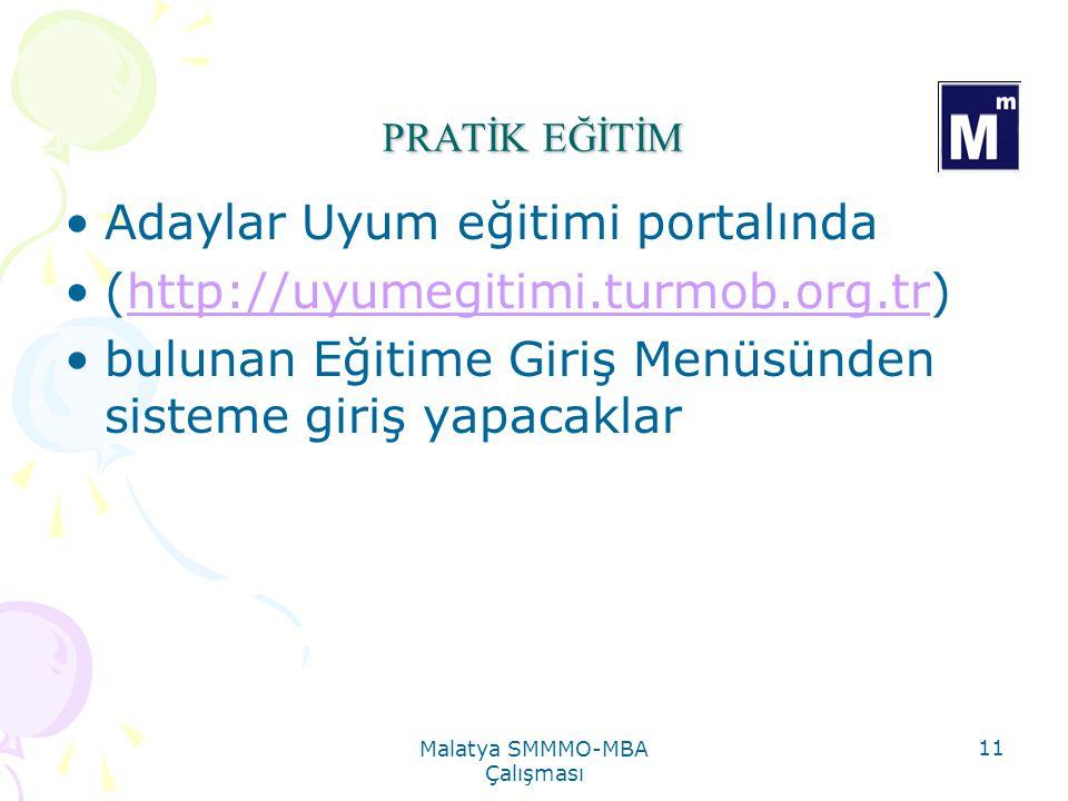 Malatya SMMMO-MBA Çalışması 11 PRATİK EĞİTİM Adaylar Uyum eğitimi portalında (http://uyumegitimi.turmob.org.tr)http://uyumegitimi.turmob.org.tr bulunan Eğitime Giriş Menüsünden sisteme giriş yapacaklar