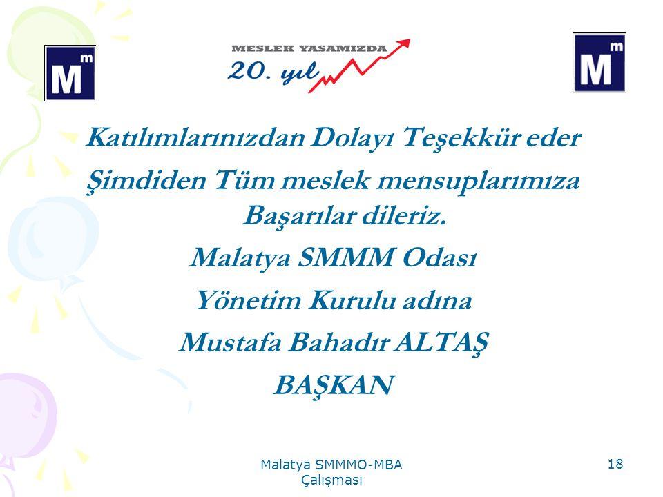Malatya SMMMO-MBA Çalışması 18 Katılımlarınızdan Dolayı Teşekkür eder Şimdiden Tüm meslek mensuplarımıza Başarılar dileriz.