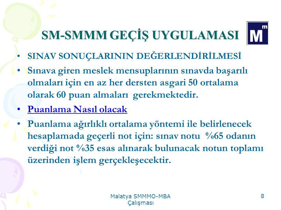 Malatya SMMMO-MBA Çalışması 9 SM-SMMM GEÇİŞ UYGULAMASI PUANLAMA İÇİN ÖRNEK UYGULAMA Finansal Muh.