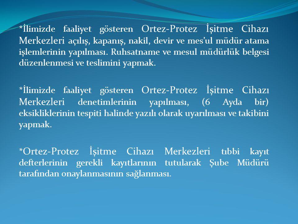 *İlimizde faaliyet gösteren Ortez-Protez İşitme Cihazı Merkezleri açılış, kapanış, nakil, devir ve mes'ul müdür atama işlemlerinin yapılması. Ruhsatna