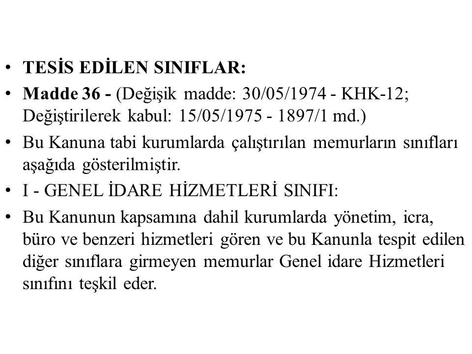 TESİS EDİLEN SINIFLAR: Madde 36 - (Değişik madde: 30/05/1974 - KHK-12; Değiştirilerek kabul: 15/05/1975 - 1897/1 md.) Bu Kanuna tabi kurumlarda çalışt