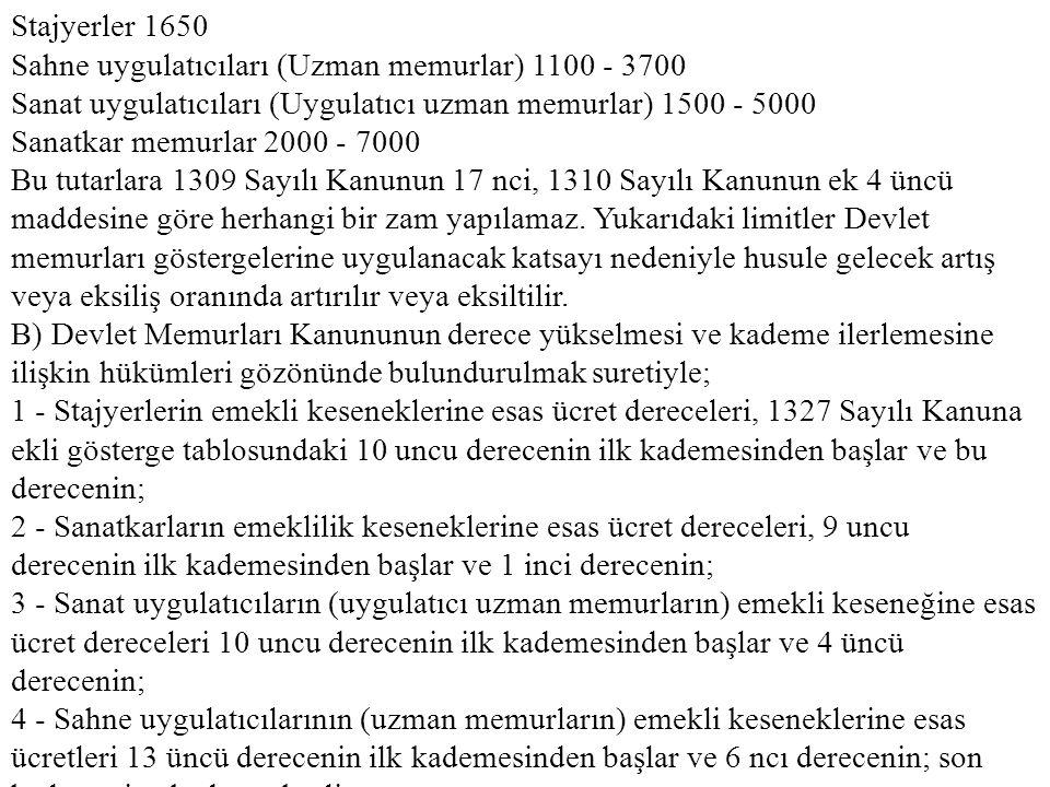 Stajyerler 1650 Sahne uygulatıcıları (Uzman memurlar) 1100 - 3700 Sanat uygulatıcıları (Uygulatıcı uzman memurlar) 1500 - 5000 Sanatkar memurlar 2000