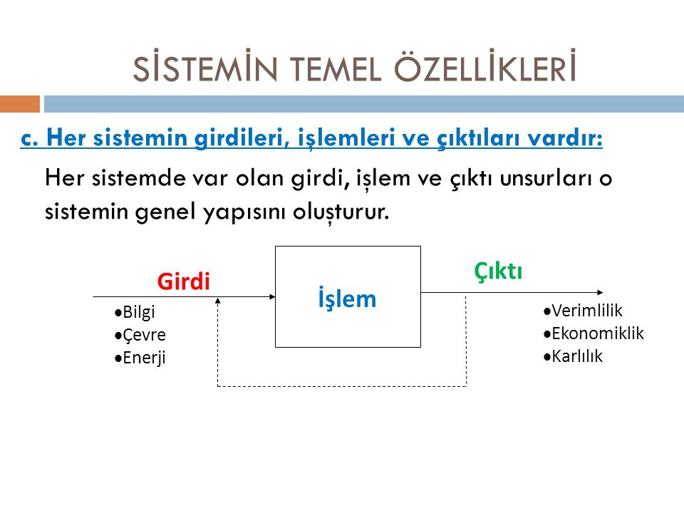 c. Her sistemin girdileri, işlemleri ve çıktıları vardır: Her sistemde var olan girdi, işlem ve çıktı unsurları o sistemin genel yapısını oluşturur. S