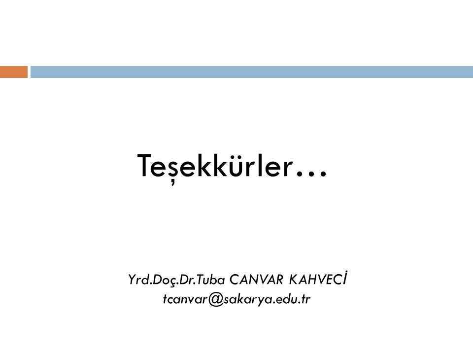 Teşekkürler… Yrd.Doç.Dr.Tuba CANVAR KAHVEC İ tcanvar@sakarya.edu.tr