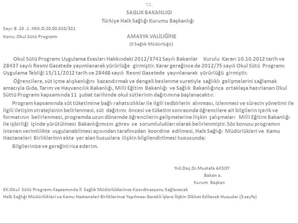 T.C. SAGLIK BAKANLIGI Türkiye Halk Sağlığı Kurumu Başkanlığı Sayı: B.10.1.HSK.O.20.00.010/321 Konu: Okul Sütü Programı AMASYA VALİLİĞİNE (il Sağlık Mü