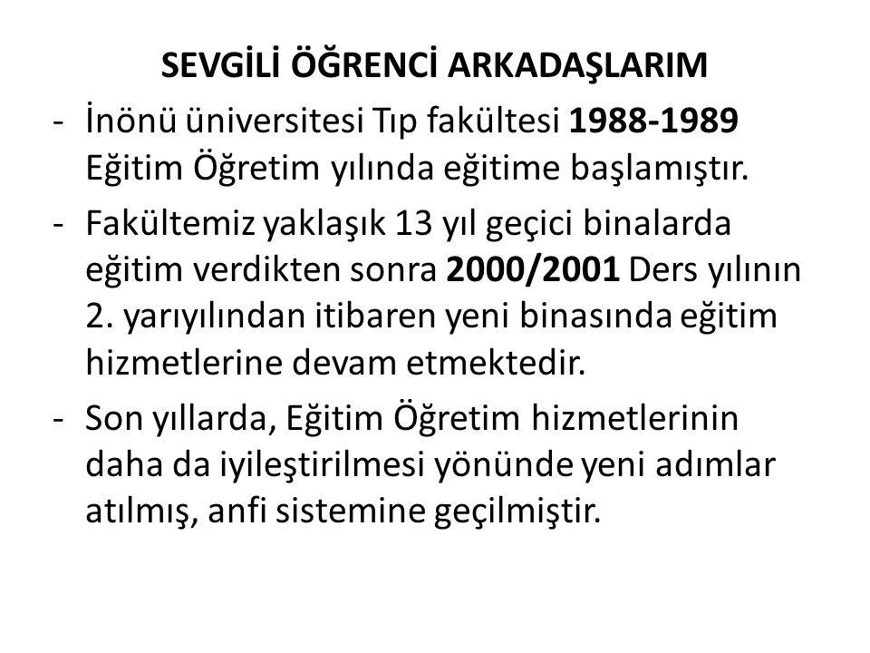 SEVGİLİ ÖĞRENCİ ARKADAŞLARIM -İnönü üniversitesi Tıp fakültesi 1988-1989 Eğitim Öğretim yılında eğitime başlamıştır. -Fakültemiz yaklaşık 13 yıl geçic