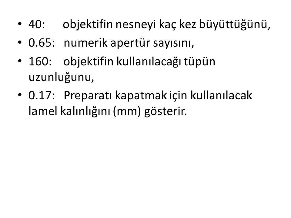 40: objektifin nesneyi kaç kez büyüttüğünü, 0.65: numerik apertür sayısını, 160: objektifin kullanılacağı tüpün uzunluğunu, 0.17: Preparatı kapatmak i