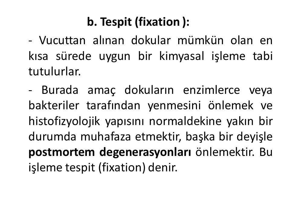 b. Tespit (fixation ): - Vucuttan alınan dokular mümkün olan en kısa sürede uygun bir kimyasal işleme tabi tutulurlar. - Burada amaç dokuların enzimle