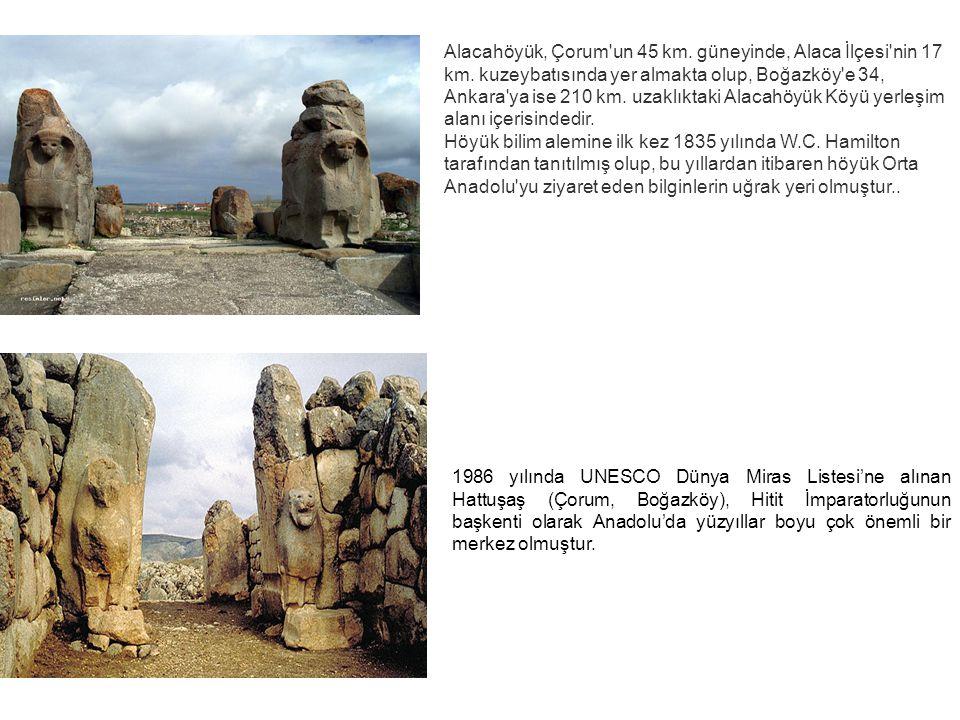 Alacahöyük, Çorum'un 45 km. güneyinde, Alaca İlçesi'nin 17 km. kuzeybatısında yer almakta olup, Boğazköy'e 34, Ankara'ya ise 210 km. uzaklıktaki Alaca