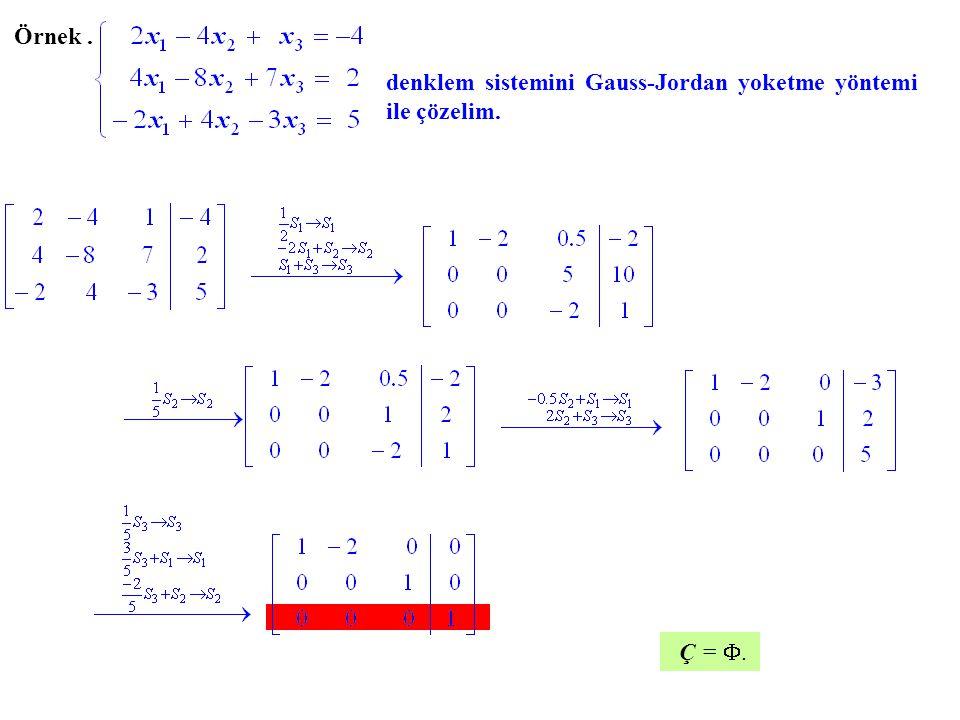 Örnek. denklem sistemini Gauss-Jordan yoketme yöntemi ile çözelim. Ç = ..