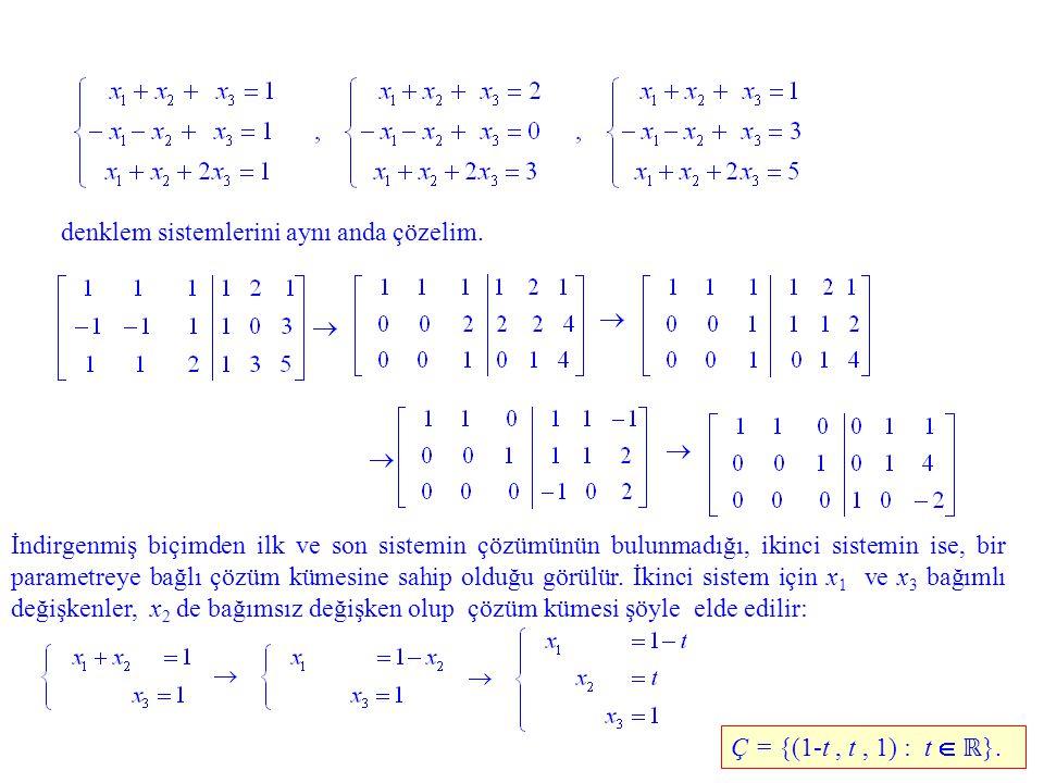denklem sistemlerini aynı anda çözelim. İndirgenmiş biçimden ilk ve son sistemin çözümünün bulunmadığı, ikinci sistemin ise, bir parametreye bağlı çöz