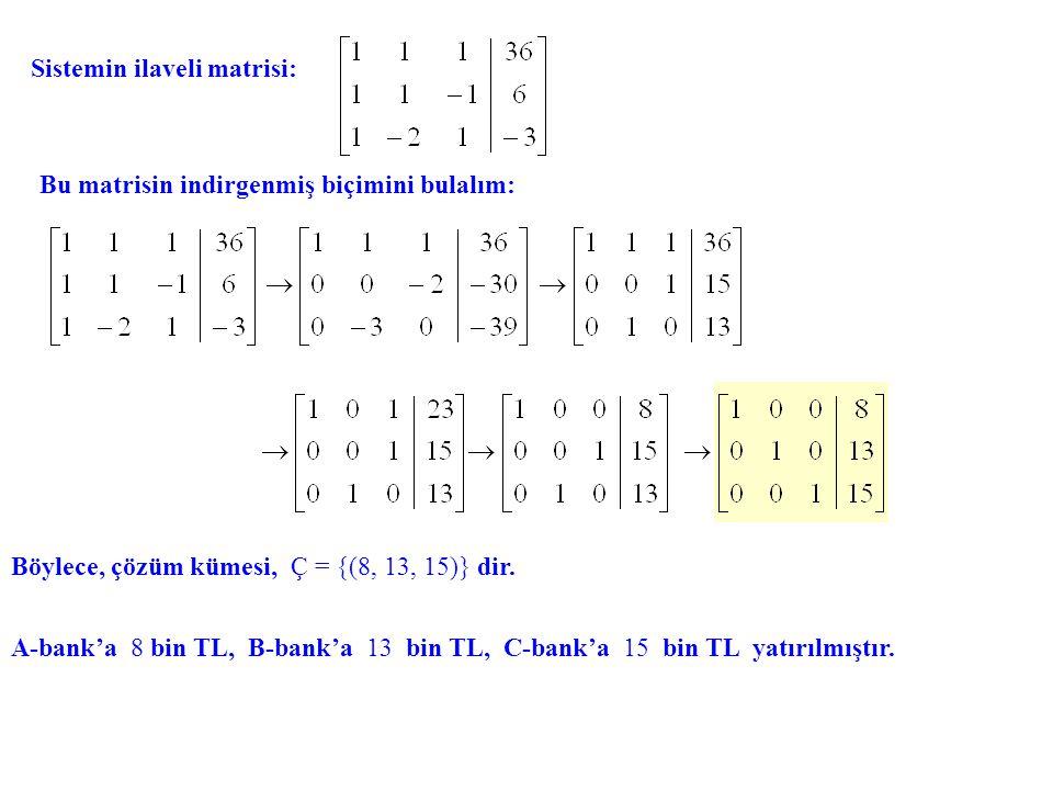 Sistemin ilaveli matrisi: Bu matrisin indirgenmiş biçimini bulalım: Böylece, çözüm kümesi, Ç = {(8, 13, 15)} dir. A-bank'a 8 bin TL, B-bank'a 13 bin T