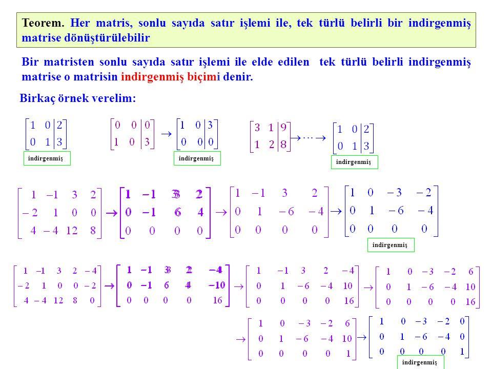 Örnek.denklem sistemini Gauss-Jordan yoketme yöntemi ile çözelim.