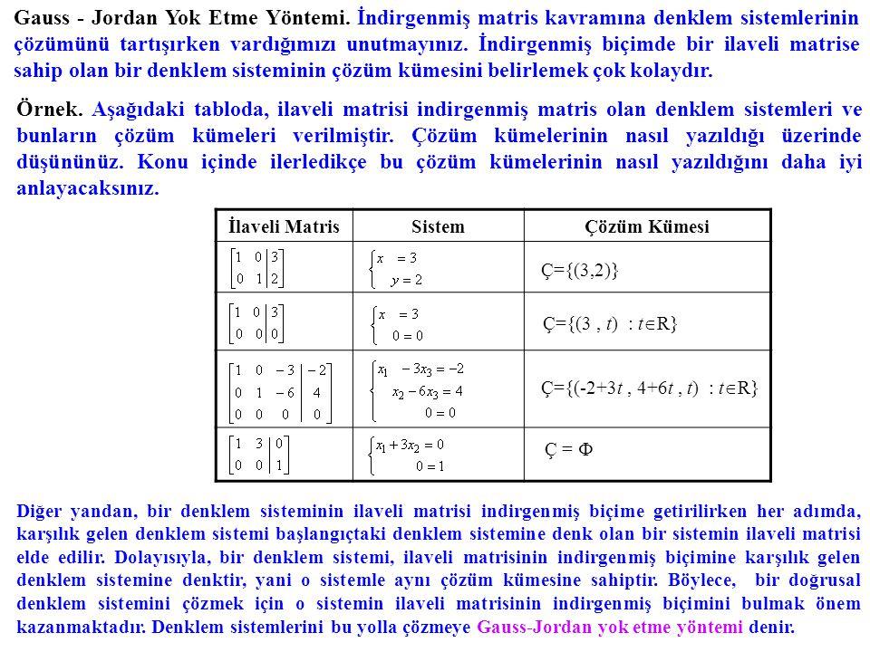 Gauss-Jordan yok etme yöntemi ile bir doğrusal denklem sistemini çözerken sistemin ilaveli matrisini indirgenmiş biçime getirmek esastır.