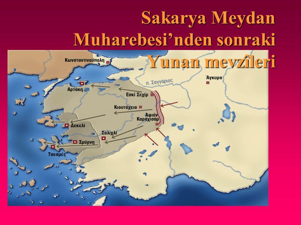 Sakarya Meydan Muharebesi'nden sonraki Yunan mevzîleri