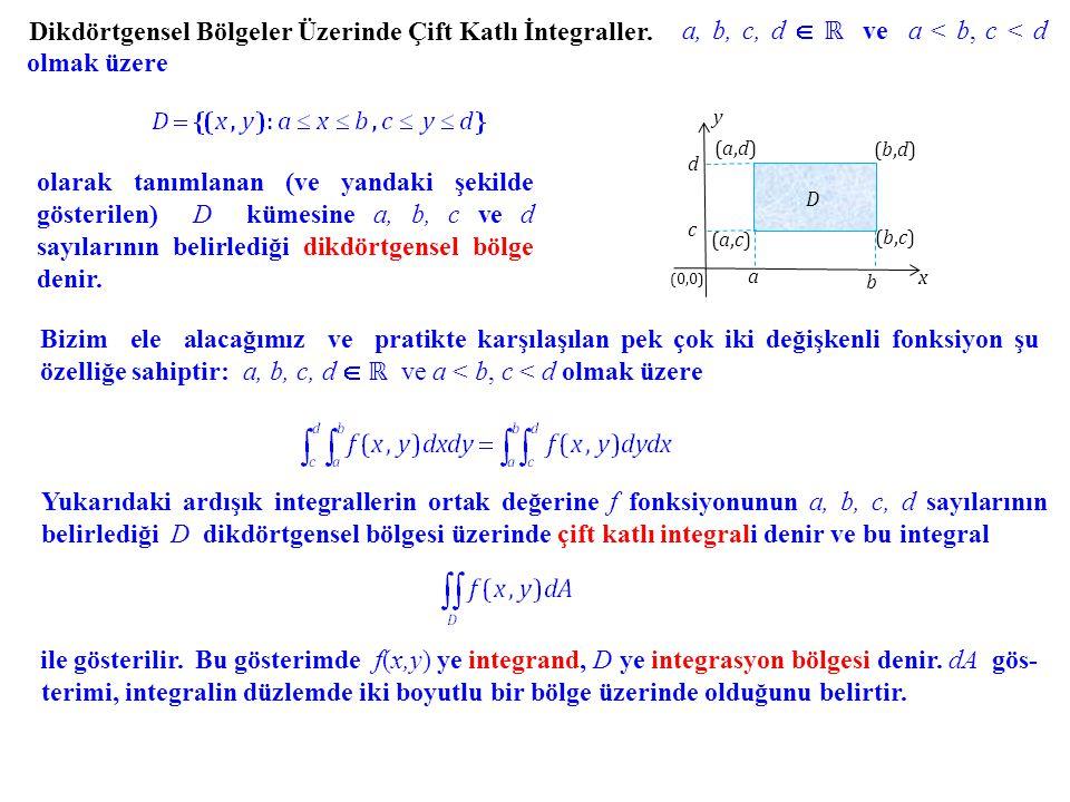 Dikdörtgensel Bölgeler Üzerinde Çift Katlı İntegraller. a, b, c, d  ℝ ve a < b, c < d olmak üzere olarak tanımlanan (ve yandaki şekilde gösterilen) D