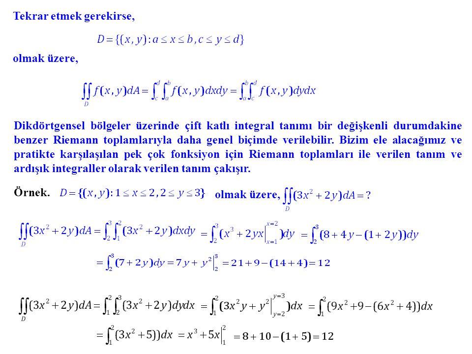 Tekrar etmek gerekirse, olmak üzere, Dikdörtgensel bölgeler üzerinde çift katlı integral tanımı bir değişkenli durumdakine benzer Riemann toplamlarıyl