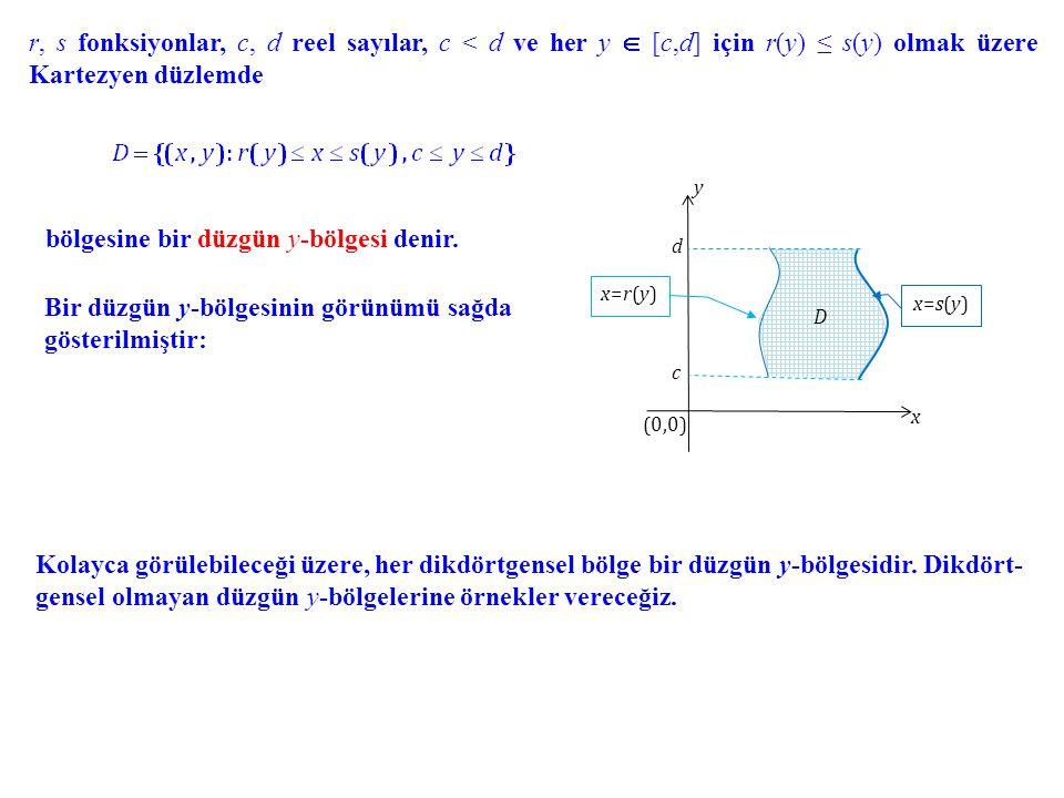 r, s fonksiyonlar, c, d reel sayılar, c < d ve her y  [c,d] için r(y) ≤ s(y) olmak üzere Kartezyen düzlemde bölgesine bir düzgün y-bölgesi denir. Bir