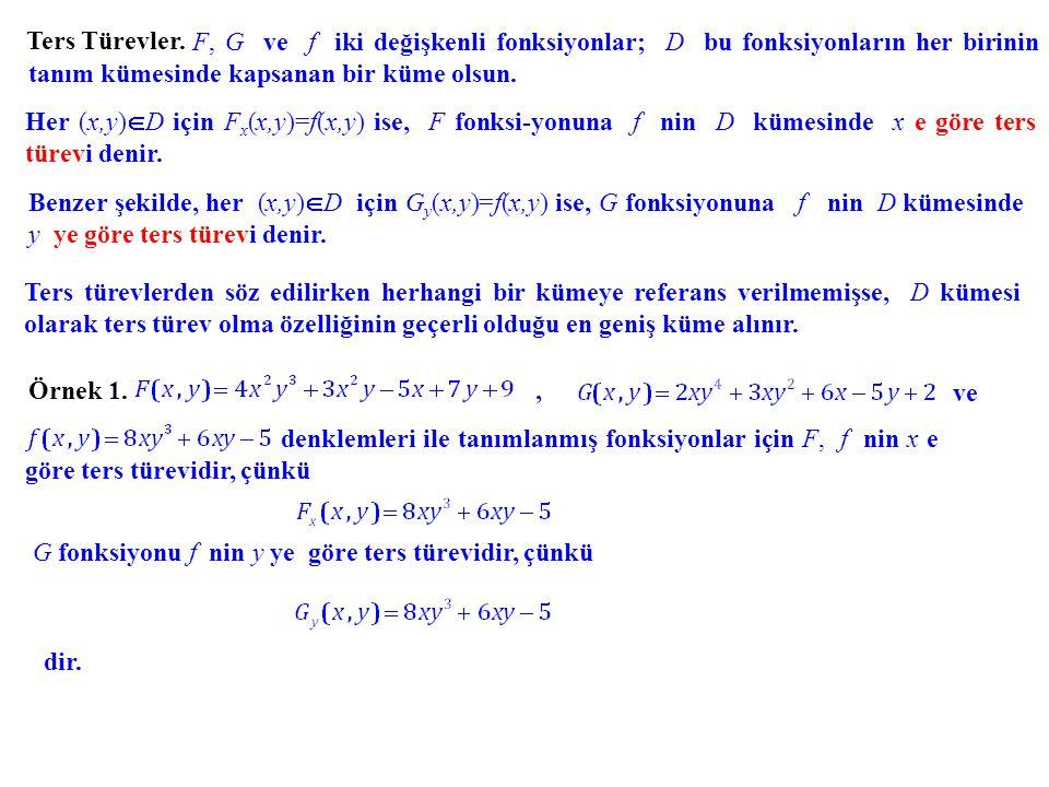 Bir değişkenli fonksiyonlarda ters türevle ilgili tartışmalarımızı anımsayarak şu sonuçla- ra ulaşabiliriz: F 1 ve F 2, aynı f fonksiyonunun x e göre ters türevleri ise, öyle bir (bir değişkenli) B fonksiyonu vardır ki, F 2 (x,y)= F 1 (x,y) + B(y) dir.