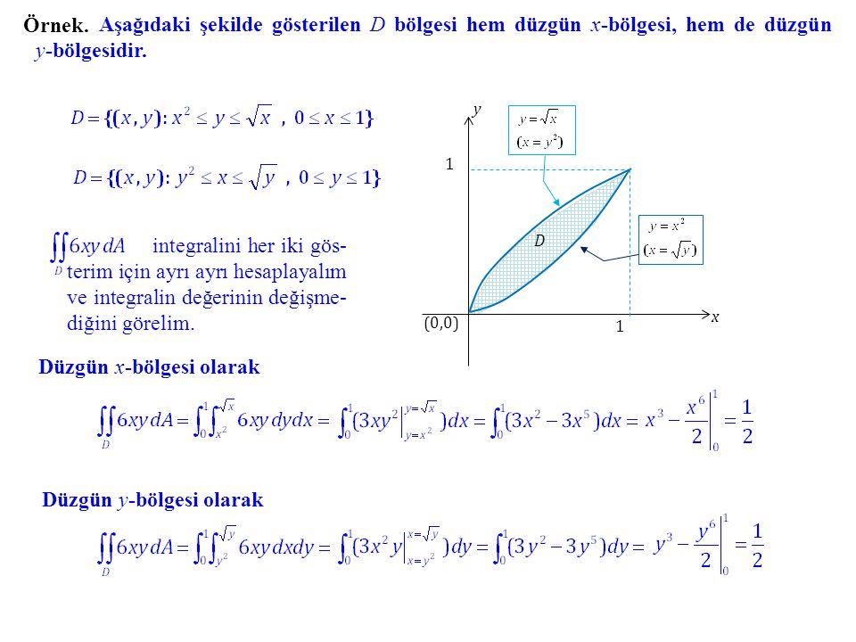 Örnek. Aşağıdaki şekilde gösterilen D bölgesi hem düzgün x-bölgesi, hem de düzgün y-bölgesidir. y x (0,0) 1 1 D integralini her iki gös- terim için ay