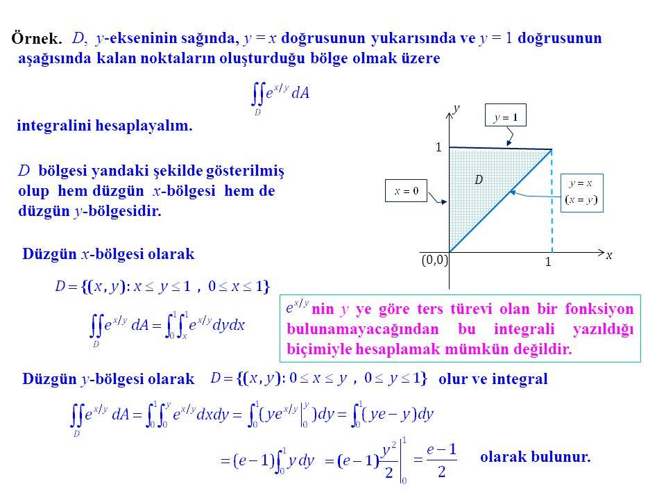Örnek. D, y-ekseninin sağında, y = x doğrusunun yukarısında ve y = 1 doğrusunun aşağısında kalan noktaların oluşturduğu bölge olmak üzere integralini