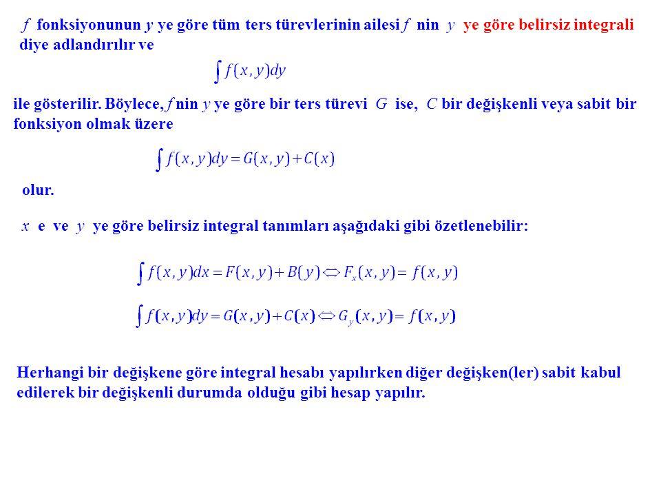 f fonksiyonunun y ye göre tüm ters türevlerinin ailesi f nin y ye göre belirsiz integrali diye adlandırılır ve ile gösterilir. Böylece, f nin y ye gör