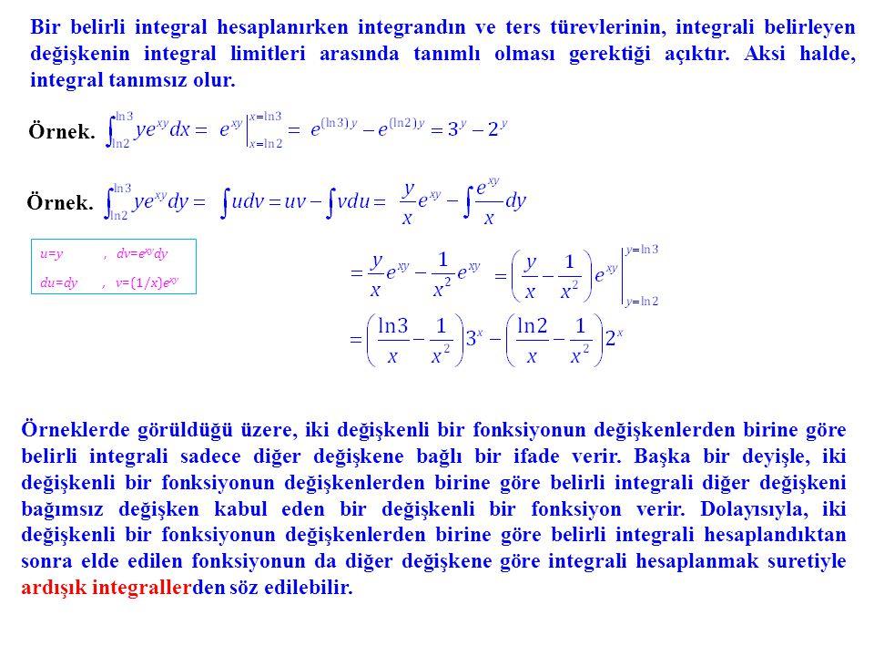 Bir belirli integral hesaplanırken integrandın ve ters türevlerinin, integrali belirleyen değişkenin integral limitleri arasında tanımlı olması gerekt