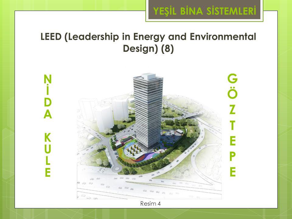 LEED (Leadership in Energy and Environmental Design) (8) YEŞİL BİNA SİSTEMLERİ NİDAKULENİDAKULE GÖZTEPEGÖZTEPE Resim 4