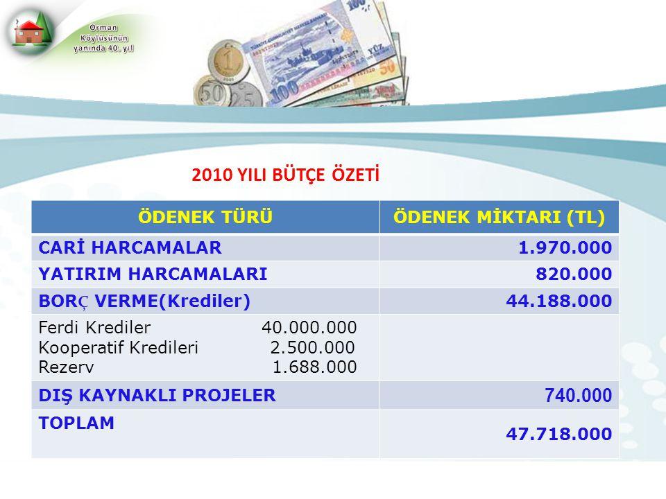 2010 YILI BÜTÇE ÖZETİ ÖDENEK TÜRÜÖDENEK MİKTARI (TL) CARİ HARCAMALAR1.970.000 YATIRIM HARCAMALARI820.000 BOR Ç VERME(Krediler) 44.188.000 Ferdi Kredil