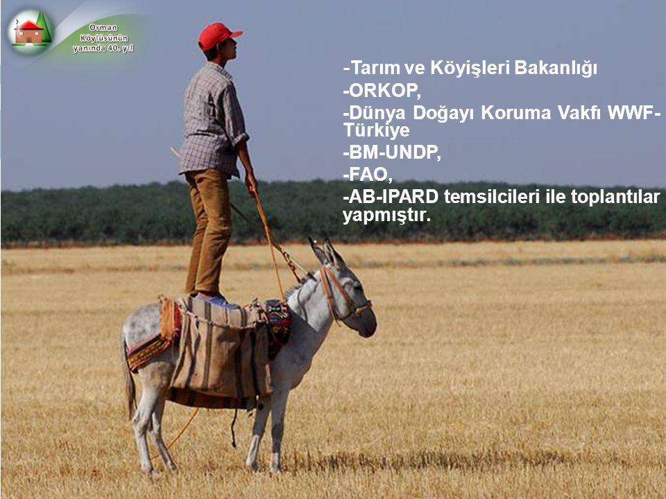 - Tarım ve Köyişleri Bakanlığı -ORKOP, -Dünya Doğayı Koruma Vakfı WWF- Türkiye -BM-UNDP, -FAO, -AB-IPARD temsilcileri ile toplantılar yapmıştır..