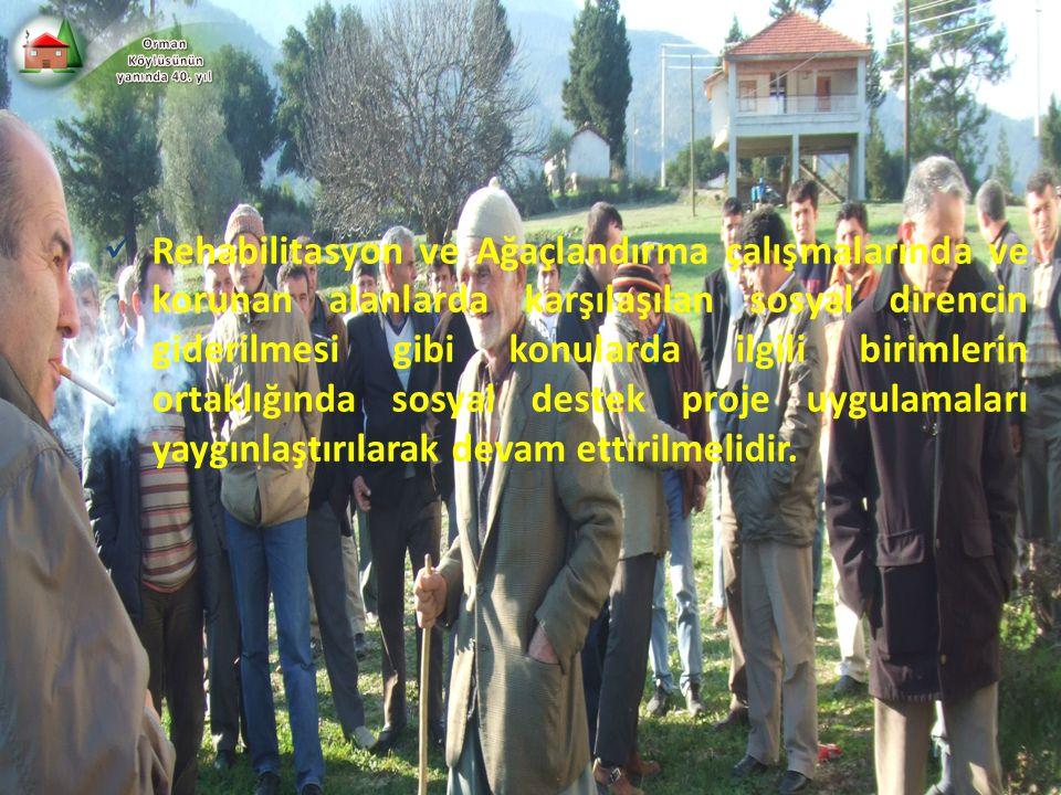 Rehabilitasyon ve Ağaçlandırma çalışmalarında ve korunan alanlarda karşılaşılan sosyal direncin giderilmesi gibi konularda ilgili birimlerin ortaklığı