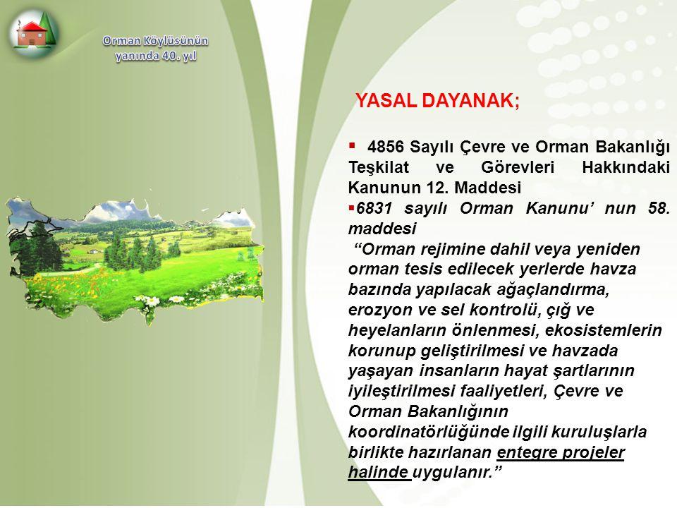 YASAL DAYANAK;  4856 Sayılı Çevre ve Orman Bakanlığı Teşkilat ve Görevleri Hakkındaki Kanunun 12. Maddesi  6831 sayılı Orman Kanunu' nun 58. maddesi
