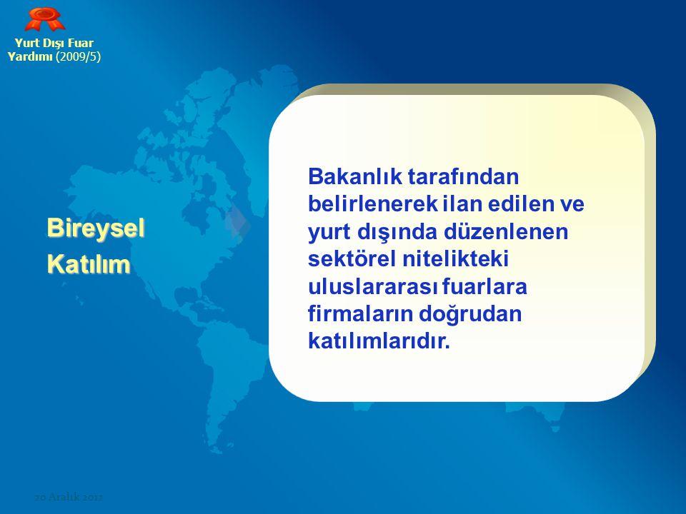 Yurt Dışı Fuar Yardımı (2009/5) BireyselKatılım Bakanlık tarafından belirlenerek ilan edilen ve yurt dışında düzenlenen sektörel nitelikteki uluslara