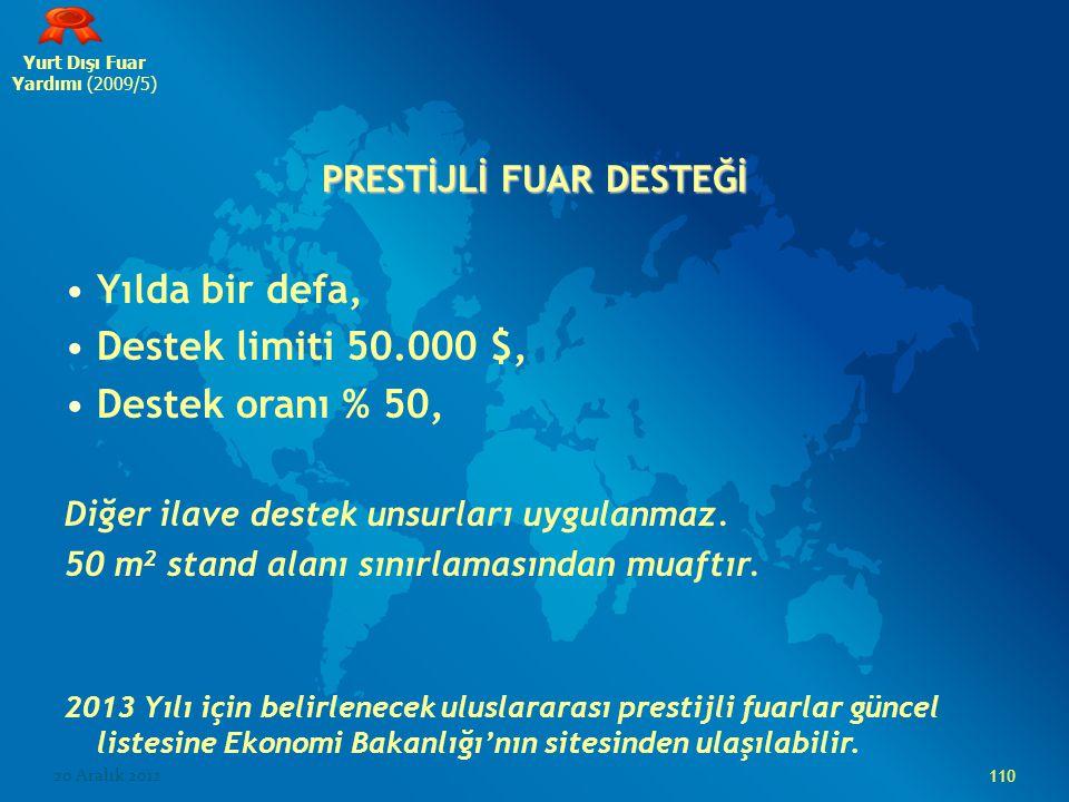 Yurt Dışı Fuar Yardımı (2009/5) PRESTİJLİ FUAR DESTEĞİ Yılda bir defa, Destek limiti 50.000 $, Destek oranı % 50, Diğer ilave destek unsurları uygula