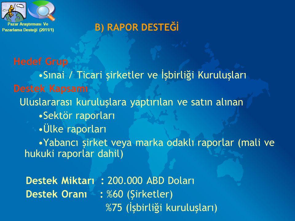 B) RAPOR DESTEĞİ Hedef Grup Sınai / Ticari şirketler ve İşbirliği Kuruluşları Destek Kapsamı Uluslararası kuruluşlara yaptırılan ve satın alınan Sektö