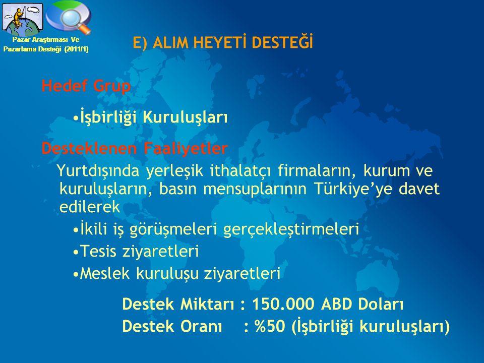 E) ALIM HEYETİ DESTEĞİ Hedef Grup İşbirliği Kuruluşları Desteklenen Faaliyetler Yurtdışında yerleşik ithalatçı firmaların, kurum ve kuruluşların, bası