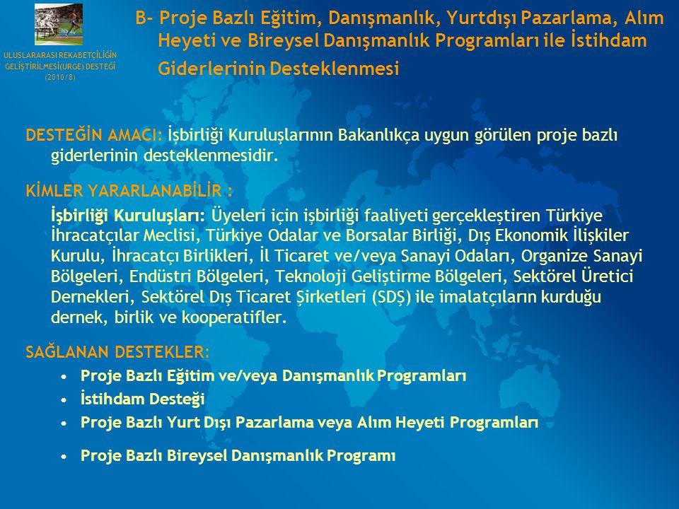 B- Proje Bazlı Eğitim, Danışmanlık, Yurtdışı Pazarlama, Alım Heyeti ve Bireysel Danışmanlık Programları ile İstihdam Giderlerinin Desteklenmesi DESTEĞ