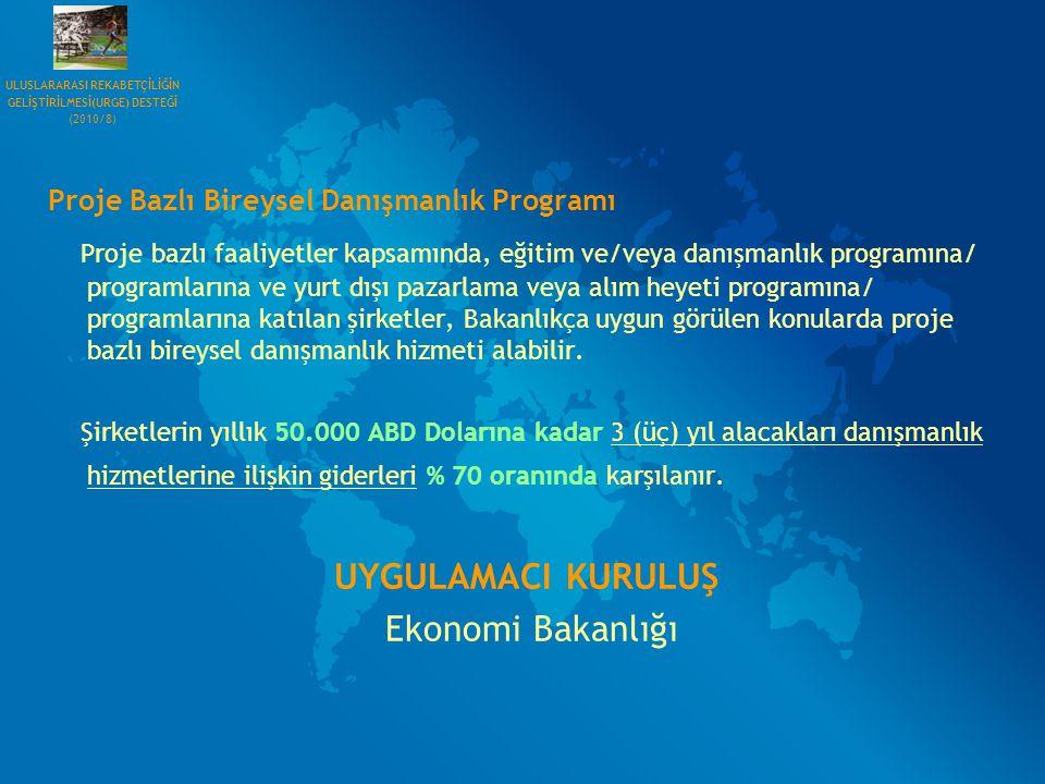 Proje Bazlı Bireysel Danışmanlık Programı Proje bazlı faaliyetler kapsamında, eğitim ve/veya danışmanlık programına/ programlarına ve yurt dışı pazarl